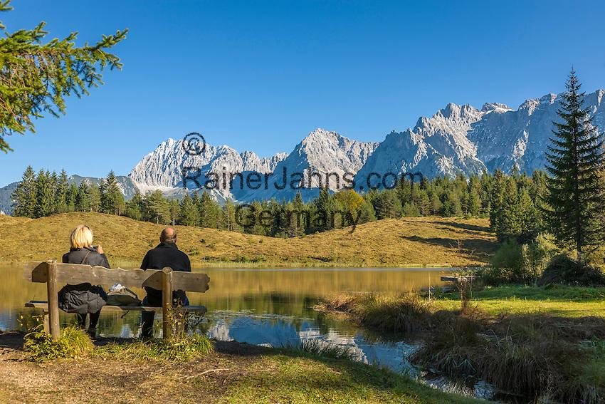 Germany, Upper Bavaria, Werdenfelser Land, above Mittenwald: hiking region around Lake Wildensee, at background Karwendel mountains | Deutschland, Bayern, Oberbayern, Werdenfelser Land, oberhalb von Mittenwald: Wandergebiet am Wildensee auf dem Hohen Kranzberg (Wettersteingebirge), im Hintergrund das Karwendelgebirge