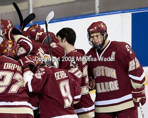 - The Boston College Eagles defeated the Miami University RedHawks 4-3 in overtime on Sunday, March 30, 2008 in the NCAA Northeast Regional Final at the DCU Center in Worcester, Massachusetts.