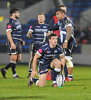 Sale Sharks AJ MacGinty setting up a penalty conversion during the European Rugby Champions Cup match between Sale Sharks and Saracens at AJ Bell Stadium, Salford, England on 18 December 2016. Photo by Paul Bell.