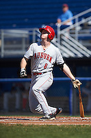 Auburn Doubledays designated hitter Erik VanMeetren (8) at bat during the first game of a doubleheader against the Batavia Muckdogs on September 4, 2016 at Dwyer Stadium in Batavia, New York.  Batavia defeated Auburn 1-0 in a continuation of a game started on August 13. (Mike Janes/Four Seam Images)