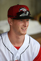 Arkansas Travelers outfielder Zach Borenstein (16) in the dugout before a game against the San Antonio Missions on May 24, 2014 at Dickey-Stephens Park in Little Rock, Arkansas.  Arkansas defeated San Antonio 4-2.  (Mike Janes/Four Seam Images)