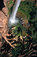 Bridal Veil (Veu de Noiva) Falls tumble in the Chapada dos Guimaraes (tilde on final a) National Park in central Brazil.