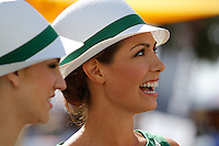 MELBOURNE, 17 MARCH - Grid girls prepare to enter the track for the 2013 Formula One Rolex Australian Grand Prix at the Albert Park Circuit in Melbourne, Australia. Photo Sydney Low/syd-low.com