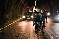 Alejandro Valverde (ESP/Movistar) closing his jacket before the long descent off the Coll de Puig Major at the end of the tunnel<br /> <br /> Trofeo Lloseta - Andratx: 140km<br /> 27th Challenge Ciclista Mallorca 2018