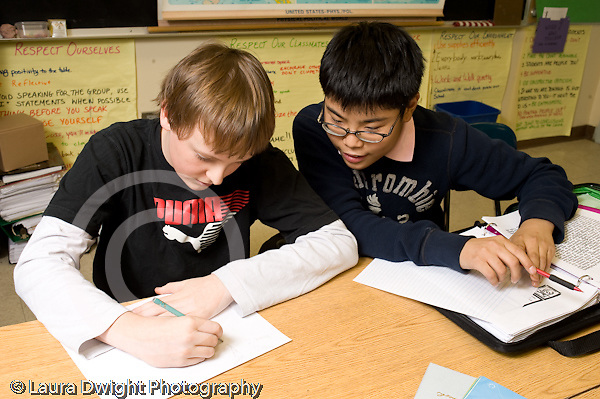Public Middle School Grade 7 humanities English History male students working together in class horizontal