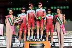 Team Katusha-Alpecin retain the team classification lead on the podium at the end of Stage 4 a 202km very hilly stage running from Catania to Caltagirone, Sicily, Italy. 8th May 2018.<br /> Picture: LaPresse/Gian Mattia D'Alberto | Cyclefile<br /> <br /> <br /> All photos usage must carry mandatory copyright credit (&copy; Cyclefile | LaPresse/Gian Mattia D'Alberto)