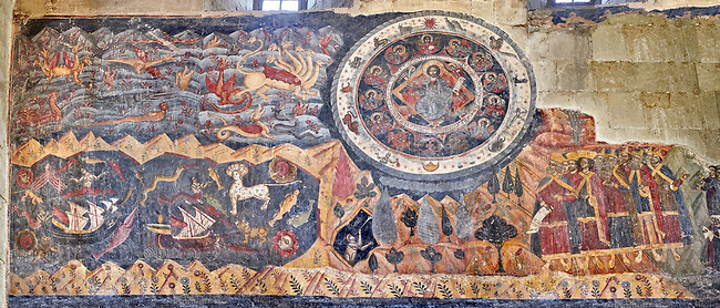 "Pictures & images of the interior fresco depicting 13th-century depiction of the ""Beast of the Apocalypse"" and figures of the Zodiac. The Eastern Orthodox Georgian Svetitskhoveli Cathedral (Cathedral of the Living Pillar) , Mtskheta, Georgia (country). A UNESCO World Heritage Site.<br /> <br /> Currently the second largest church building in Georgia, Svetitskhoveli Cathedral is a masterpiece of Early Medieval architecture completed in 1029 by Georgian architect Arsukisdze on an earlier site dating back toi the 4th century."