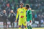 13.04.2019, Weserstadion, Bremen, GER, 1.FBL, Werder Bremen vs SC Freiburg<br /> <br /> DFL REGULATIONS PROHIBIT ANY USE OF PHOTOGRAPHS AS IMAGE SEQUENCES AND/OR QUASI-VIDEO.<br /> <br /> im Bild / picture shows<br /> Siegjubel, Stefanos Kapino (Werder Bremen #27), Theodor Gebre Selassie (Werder Bremen #23), <br /> <br /> Foto © nordphoto / Ewert