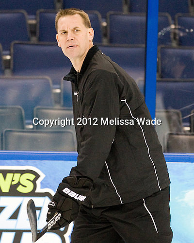 Rick Bennett (Union - Head Coach) - The Union College Dutchmen practiced on Wednesday, April 4, 2012, during the 2012 Frozen Four at the Tampa Bay Times Forum in Tampa, Florida.