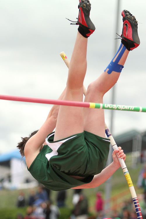 Photograph from the WIAA State Championships at Eastern Washington University in Cheney, Washington, during the 2010 Mt. Rainier Lutheran High School track and field season (pole vault photo sequence, 7 of 14).