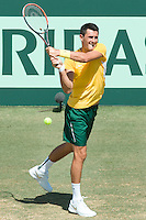 March 4, 2016: Bernard Tomic of Australia in action against Jack Sock of USA during match two of the BNP Paribas Davis Cup World Group first round tie between Australia and USA at Kooyong tennis club in Melbourne, Australia. Photo Sydney Low