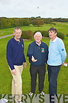 FLICKING: Joseph O'Connor 9Ballyheigue capt) and Fran Herlihy (Castlegregory capt) watchs Michael O'Neill of the Kerry Golf Federation flick the coin to see who will tee off in the Kerry Nines Golf competition on Saturday. ..