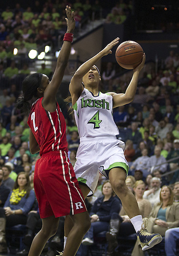 January 13, 2013:  Notre Dame guard Skylar Diggins (4) goes up for a shot as Rutgers guard Kahleah Copper (2) defends during NCAA Basketball game action between the Notre Dame Fighting Irish and the Rutgers Scarlett Knights at Purcell Pavilion at the Joyce Center in South Bend, Indiana.  Notre Dame defeated Rutgers 71-46.