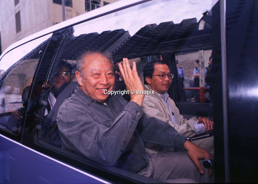 290897: HONG KONG: TUNG CHEE HWA<br /> <br /> TUNG CHEE HWA, WAVES FROM HIS CAR AFTER A &quot;MEET AND GREET&quot; THE PEOPLE.<br /> <br /> PHTO BY FREDERIC BROWN / SINOPIX