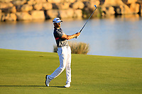 Gregory Bourdy (FRA) on the 18th during the 1st round of the 2017 Portugal Masters, Dom Pedro Victoria Golf Course, Vilamoura, Portugal. 21/09/2017<br /> Picture: Fran Caffrey / Golffile<br /> <br /> All photo usage must carry mandatory copyright credit (&copy; Golffile | Fran Caffrey)
