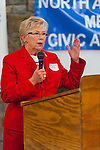 Oct. 23, 2012 - Merrick, New York, U.S. - Congresswoman CAROLYN MCCARTHY (D), in red suit, spoke at the 4th Annual Meet the Candidate Night held by civic associations of Merrick, with many in the area in a new congressional district. After briefly addressing the audience, each candidate then went to the lobby where individual community members asked more questions.