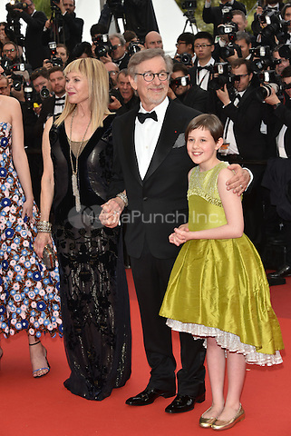 Kate Capshaw, Steven Spielberg, Ruby Barnhill at 'The BFG' screening at the 69th International Cannes Film Festival, France<br /> May 14, 2016<br /> CAP/PL<br /> &copy;Phil Loftus/Capital Pictures / MediaPunch *** North American &amp; South American Rights Only***