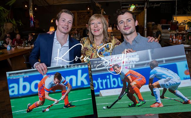 VOGELENZANG -  Sander Baart en Seve van Ass (150 interlands) . met Helen Maijer (Deloitte)   Spelerslunch KNHB 2019.   COPYRIGHT KOEN SUYK