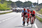 The breakaway group almost caught by the peleton during Stage 7 of the 2018 Giro d'Italia, a flat stage running 159km from Pizzo to Praia a Mare, Italy. 11th May 2018.<br /> Picture: LaPresse/Fabio Ferrari | Cyclefile<br /> <br /> <br /> All photos usage must carry mandatory copyright credit (&copy; Cyclefile | LaPresse/Fabio Ferrari)