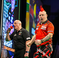 12th March 2020; M and S Bank Arena, Liverpool, Merseyside, England; Professional Darts Corporation, Unibet Premier League Liverpool; Peter Wright celebrates winning a leg