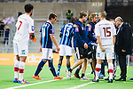 Stockholm 2014-03-09 Fotboll Svenska Cupen Djurg&aring;rdens IF - Assyriska FF :  <br /> Djurg&aring;rdens Erton Fejzullahu g&aring;r av planen i den andra halvleken med en skada<br /> (Foto: Kenta J&ouml;nsson) Nyckelord:  Djurg&aring;rden skada skadan ont sm&auml;rta injury pain