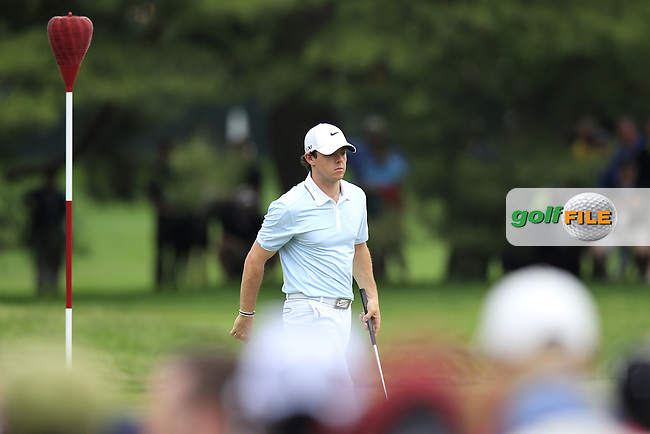 Rory McIlroy (NIR) on the 4th green during Thursday's Round 1 of the 113th U.S.Open National Championship held at Merion Golf Club, Ardmore, Philadelphia, Pennsylvania. <br /> 13th June 2013<br /> (Picture: Eoin Clarke www.golffile.ie)