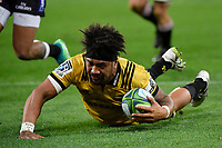 Hurricanes&rsquo; Ardie Savea in action during the Super Rugby - Hurricanes v Lions at Westpac Stadium, Wellington, New Zealand on Saturday 5 May 2018.<br /> Photo by Masanori Udagawa. <br /> www.photowellington.photoshelter.com