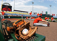 Oregon State, the only returning team from the 2005 College World Series, warms up in the outfield before a practice at the 2006 CWS at Rosenblatt Stadium in Omaha. (Photo by Michelle Bishop) ..