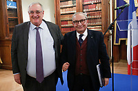 Herv&egrave; Guillou, AD di Naval Group e Giuseppe Bono, AD di Fincantieri.<br /> Roma 01/02/2018. Incontro di lavoro sul progetto di cooperazione industriale nel settore navale militare (Fincantieri Naval Group).<br /> Rome February1st 2018. Meeting on the project of cooperation between Italy and France in the naval- military sector (Fincantieri and Naval Group).<br /> Foto Samantha Zucchi Insidefoto