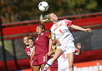 COLLEGE PARK, MD - OCTOBER 21, 2012:  Ashley Spivey (8) of the University of Maryland heads over Ines Jaurena (2) of Florida State during an ACC women's match at Ludwig Field in College Park, MD. on October 21. Florida won 1-0.