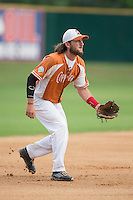 Asheboro Copperheads third baseman Skyler Geissinger (15) on defense against the High Point-Thomasville HiToms at Finch Field on June 12, 2015 in Thomasville, North Carolina.  The HiToms defeated the Copperheads 12-3. (Brian Westerholt/Four Seam Images)
