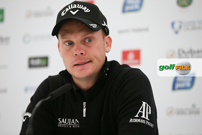 The 2016 Masters Champion Golfer, Danny Willett (ENG) in media interview, during Tuesday's practice round ahead of the 2016 Dubai Duty Free Irish Open Hosted by The Rory Foundation which is played at the K Club Golf Resort, Straffan, Co. Kildare, Ireland. 17/05/2016. Picture Golffile | David Lloyd.<br /> <br /> All photo usage must display a mandatory copyright credit as: &copy; Golffile | David Lloyd.