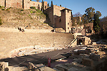 Roman theatre and walls of the Alcazaba fortress, Malaga, Spain