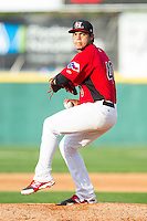 Hickory Crawdads relief pitcher Ricardo Rodriguez (40) in action against the Asheville Tourists at L.P. Frans Stadium on April 13, 2014 in Hickory, North Carolina.  The Tourists defeated the Crawdads 5-4.  (Brian Westerholt/Four Seam Images)