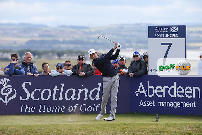 Eddie Pepperell (ENG) during the Final Round of the 2015 Aberdeen Asset Management Scottish Open, played at Gullane Golf Club, Gullane, East Lothian, Scotland. /12/07/2015/. Picture: Golffile | David Lloyd<br /> <br /> All photos usage must carry mandatory copyright credit (&copy; Golffile | David Lloyd)