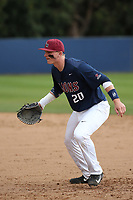 Jamey Smart (20) of the Loyola Marymount Lions at first base during a game against the Washington State Cougars at Page Stadium on February 26, 2017 in Los Angeles, California. Loyola defeated Washington State, 7-4. (Larry Goren/Four Seam Images)