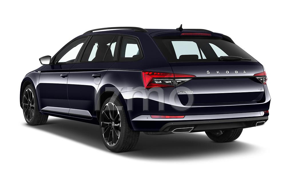 Car pictures of rear three quarter view of 2020 Skoda Superb-Combi Sportline 5 Door Wagon Angular Rear