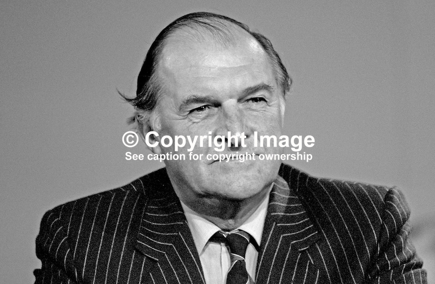 Lord Plumb, aka Sir Henry Plumb, aka Henry Plumb, MEP, Conservative Party, UK, former vice-president and president, Nation Farmers Union, at Conservative Party annual conference, 1987. 19871032HP1.<br />