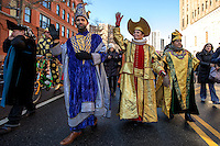 NEW YORK - JANUARY 06: Revelers march during Three Kings Day Parade in East Harlem January 6, 2017 in New York City. The parade celebrates the Feast of the Epiphany, also known as Three Kings Day, marking the Biblical story of the visit of three kings to Bethlehem to visit the baby Jesus, revealing his divinity. Photo by VIEWpress/Maite H. Mateo