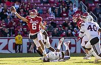 NWA Democrat-Gazette/BEN GOFF @NWABENGOFF<br /> Ben Hicks, Arkansas quarterback, throws the ball in the second quarter vs Mississippi State Saturday, Nov. 2, 2019, at Reynolds Razorback Stadium in Fayetteville.