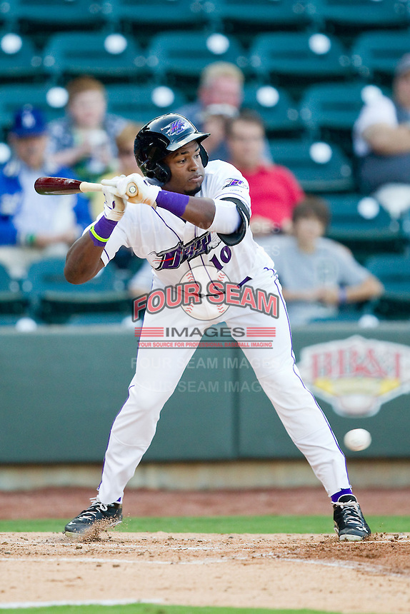 Courtney Hawkins (10) of the Winston-Salem Dash leans out of the way of an inside pitch against the Salem Red Sox at BB&T Ballpark on August 15, 2013 in Winston-Salem, North Carolina.  The Red Sox defeated the Dash 2-1.  (Brian Westerholt/Four Seam Images)