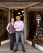 October 19, 2012. Durham, North Carolina..  Cave Taureau owner Noel Sherr and his wife Marie... Cave Taureau, a new wine shop, will open on Main Street on October 20.
