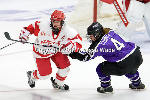 Kasey Boucher (BU - 3), Kaleigh Chippy (Niagara - 4) - The Boston University Terriers defeated the Niagara University Purple Eagles 5-2 on Saturday, October 8, 2011, to sweep the weekend series at Walter Brown Arena in Boston, Massachusetts.