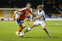 Danny Hylton of Luton Town and Scot Bennett of Newport County during the Sky Bet League 2 match between Luton Town and Newport County at Kenilworth Road, Luton, England on 16 August 2016. Photo by David Horn.