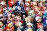 Photo by Heathcliff Omalley..Moscow 29 October 2007.Russian Dolls, including one of the incumbent Russian President Vladimir  Putin on a stall close to Moscow's Red Square.