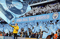 Manchester City fans display flags and a Sergio Aguero banner ahead of kick-off<br /> <br /> Photographer Rich Linley/CameraSport<br /> <br /> UEFA Champions League - Quarter-finals 2nd Leg - Manchester City v Tottenham Hotspur - Wednesday April 17th 2019 - The Etihad - Manchester<br />  <br /> World Copyright © 2018 CameraSport. All rights reserved. 43 Linden Ave. Countesthorpe. Leicester. England. LE8 5PG - Tel: +44 (0) 116 277 4147 - admin@camerasport.com - www.camerasport.com
