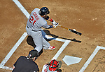 10 October 2012: St. Louis Cardinals first baseman Allen Craig connects for an RBI double, opening the scoring of Postseason Playoff Game 3 of the National League Divisional Series against the Washington Nationals at Nationals Park in Washington, DC. The Cardinals shut out the Nationals 8-0 in the third game of their best of five series, giving St. Louis a 2-1 lead in the playoff. Mandatory Credit: Ed Wolfstein Photo