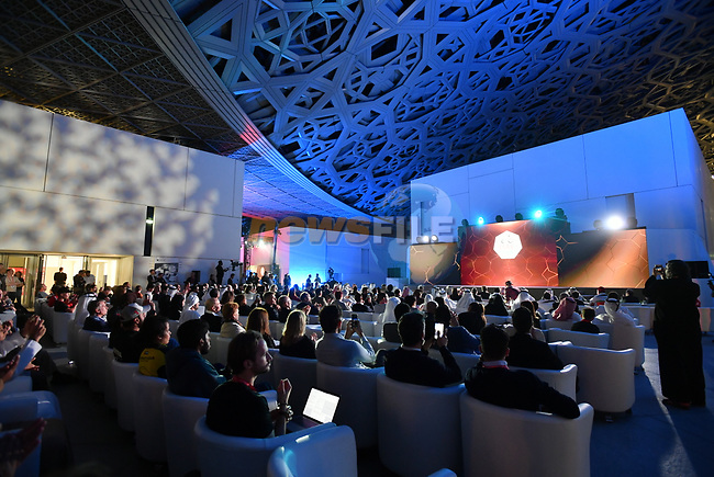 The inaugural UAE Tour 2019 opening ceremony and team presentation held in the Louvre Abu Dhabi, United Arab Emirates. 23rd February 2019.<br /> Picture: LaPresse/Massimo Paolone  | Cyclefile<br /> <br /> <br /> All photos usage must carry mandatory copyright credit (© Cyclefile | LaPresse/Massimo Paolone)