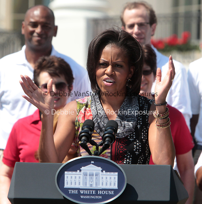 US First Lady Michelle Obama speaks during an event announcing the creation of a program to promote military family wellness at the White House in Washington D.C. May 9, 2011..Copyright EML/Rockinexposures.com.