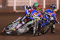 Heat 3: Tomasz Jedrzejak (red), Jonas Davidsson (blue) and Chris Harris (green) - Lakeside Hammers vs Coventry Bees - Craven Shield Final 1st Leg at The Arena Essex Raceway, Lakeside - 16/10/08 - MANDATORY CREDIT: Rob Newell/TGSPHOTO